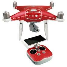 De Fibra De carbono Pegatinas Calcomanías para DJI Phantom 4 PRO y Phantom 4 PRO + Cámara Drone Drone Cuerpo y Control Remoto calcomanías(China)