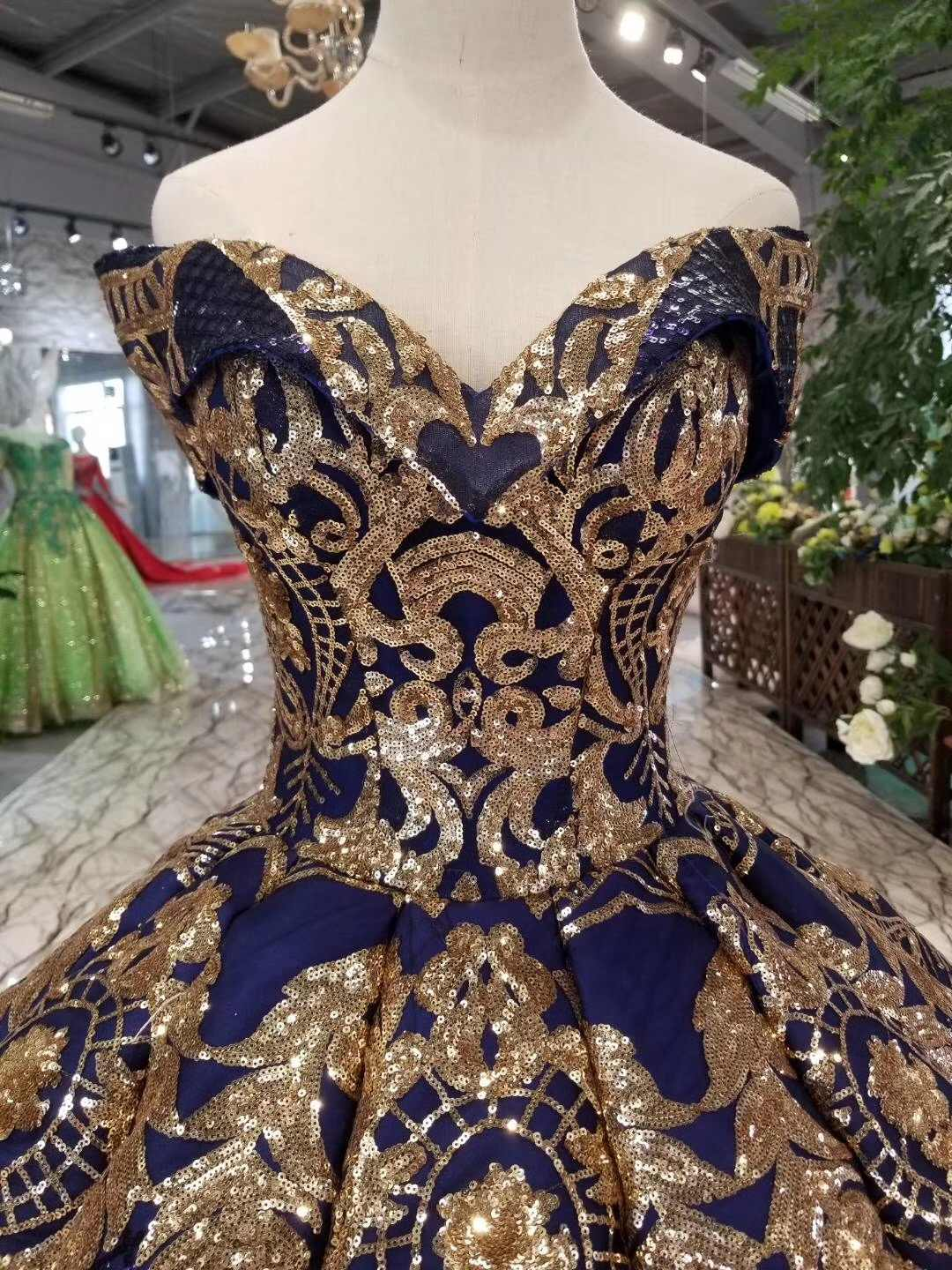 2e47963c0991 ... 2019 Luxury Red Roryal Gold Lace Applique Puffy Prom Dresses Couture  Arabic Evening Gown Vestidos Ball ...