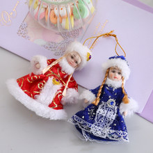 Cheap Fashion Small Ceramic Christmas Ornaments Modern Porcelain Fairy Doll With Dress Contemporary Handmade Home Decorators(China)