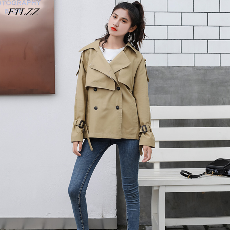 FTLZZ Khaki Black   Trench   Coat Spring Autumn Women's Double Breasted Windbreaker Outerwear Female High Street   Trench   Coat