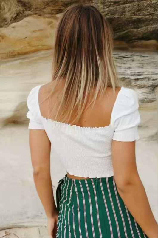 6f58b85c0768e0 ... White Blouse 2019 summer Women Vintage Square Neck Smocked Crop Top  with Frill Trim Puff Sleeve ...