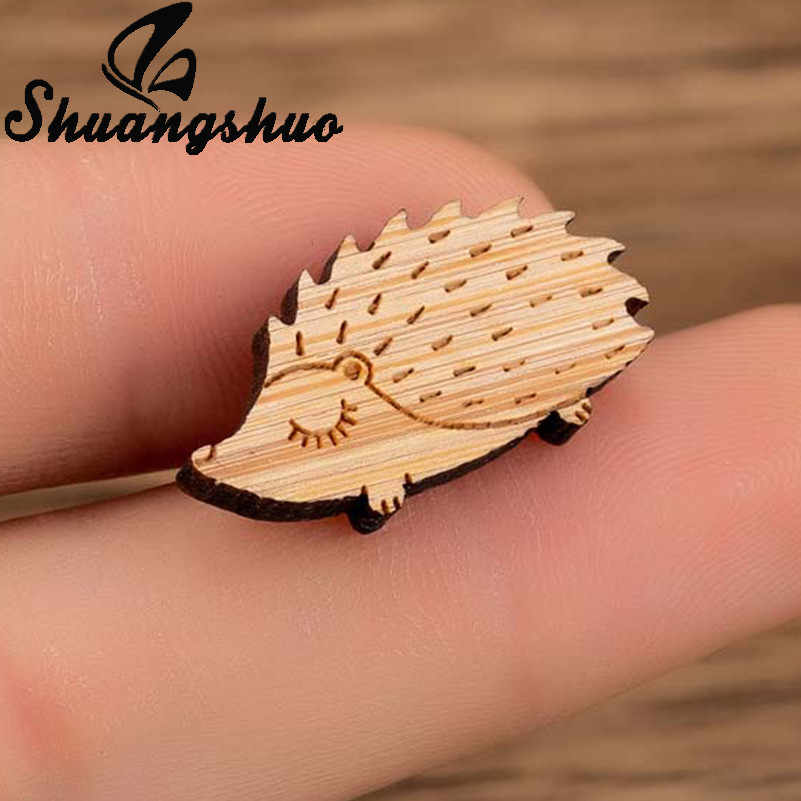 Shuangshuo Cartoon Animal Hedgehog Brooches Pins Women Lapel Pin Jewelry Enamel Pin Brooches Shirt Badge Vintage Brooch Gifts