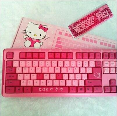 86abbb211b1 Lovely girl cartoon hello kitty mechanical desktop keyboard free shipping