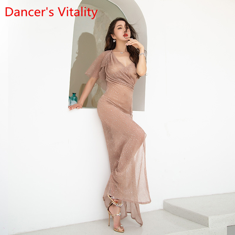 Womne Belly Dance Costume Sexy Mesh Short Sleeves Dress New  Filament Sequin Skirt Beginner Suit