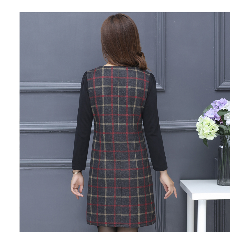 Winter Woman Elegant Tweed Dress Red Yellow Plaid Pattern Blends Robe Femme Thicken Fleece Dresses Woman Warm Shift Dress Office Outfits (8)
