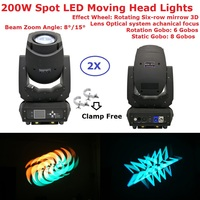 Коробка посылка 2 Xlot 200 Вт гобо светодиодный перемещение головы луч света вращающийся шестирядный зеркале ЖК дисплей Дисплей 15 градусов уве