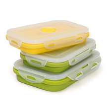 Hot Sale Silicone Collapsible Portable LunchBox Bowl Bento Boxes Folding Food Storage Container Lunchbox Eco-Friendly