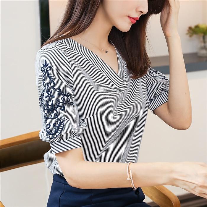 Striped flower embroidery Lace   Blouse   Fashion Women's   Blouses     Shirt   2019 Summer Chiffon short Sleeve blue   Shirts   Ladies 95C3