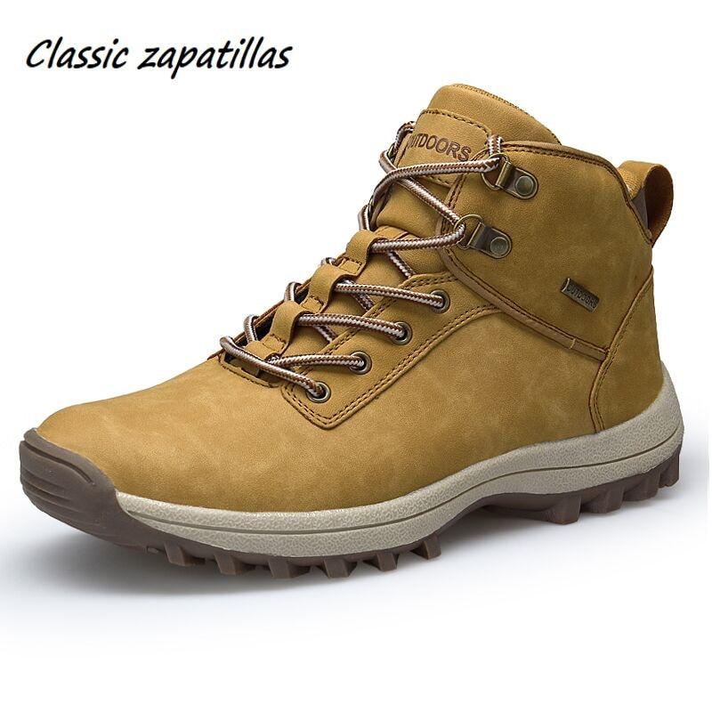 Classic Zapatillas Men Boots Winter With Fur Warm Snow Boots Men Winter Boots Work Shoes Men Footwear Fashion Rubber Ankle Shoes