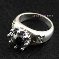 925 sterling zilver zwart star dragon ball retro crown import zilveren ring
