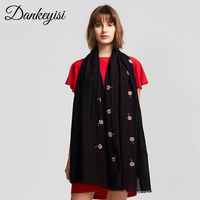 DANKEYISI Pure Wool Scarf Women Warm Pashmina Girls Bandana Long Women Scarf Female Wool Shawls Solid Color Neck Scarves 2017