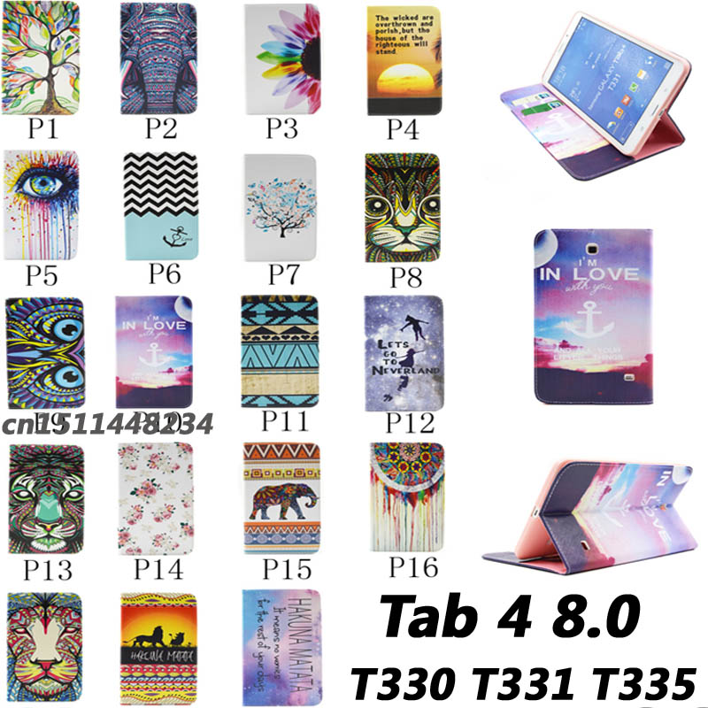 Hot New Top quality Flower animal cartoon Card Slot pu leather Case Cover for Samsung Galaxy Tab 4 8.0 T330 T331 T335 child case