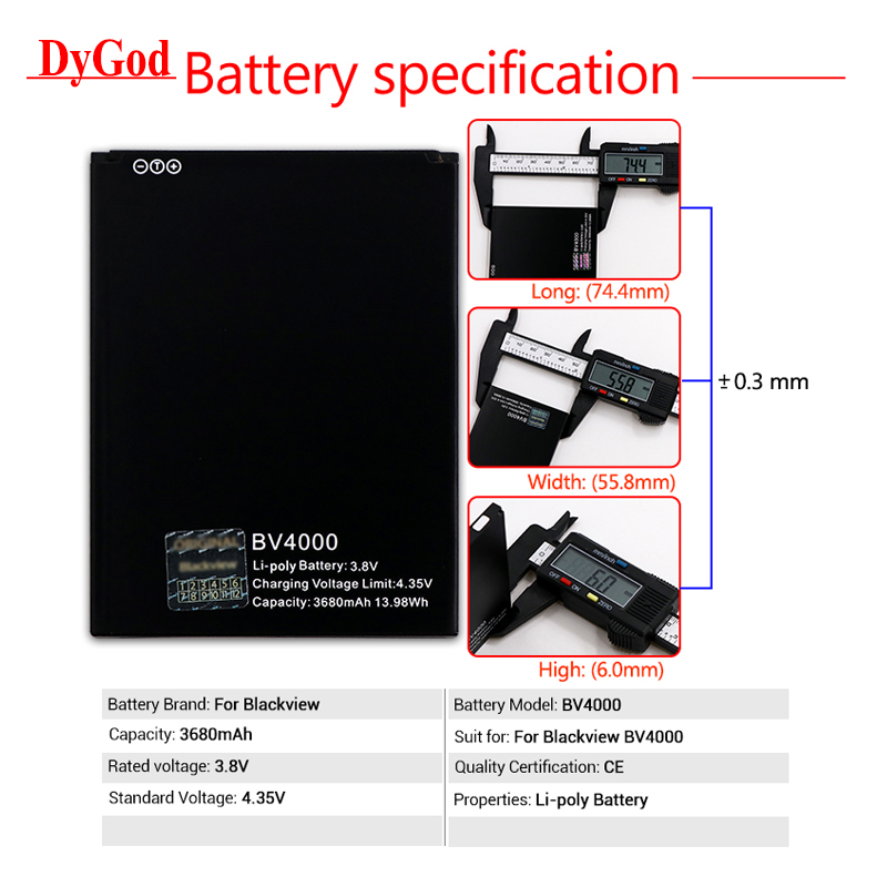 Initiative Dygod 3680mah For Blackview Bv4000 Battery Replacement For Blackview Bv4000 Pro Batteries Smart Phone Mobile Phone Batteries