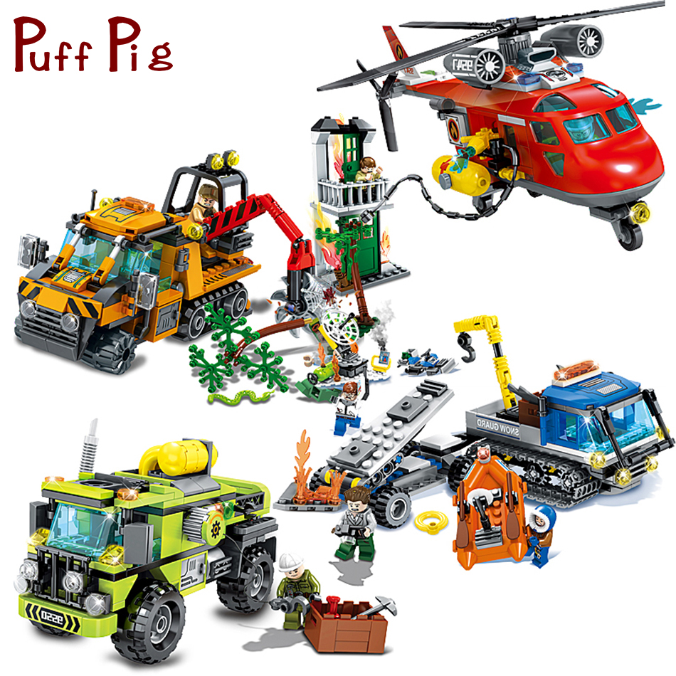 Hot Sale City Police Firefighter Engineer Helicopter Trucks Cars