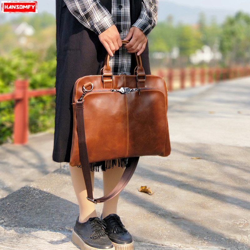 2018 새로운 여성 핸드백 레트로 패션 간단한 노트북 서류 가방 컴퓨터 가방 여성 문학 잠금 단일 어깨 메신저 가방-에서숄더 백부터 수화물 & 가방 의  그룹 1