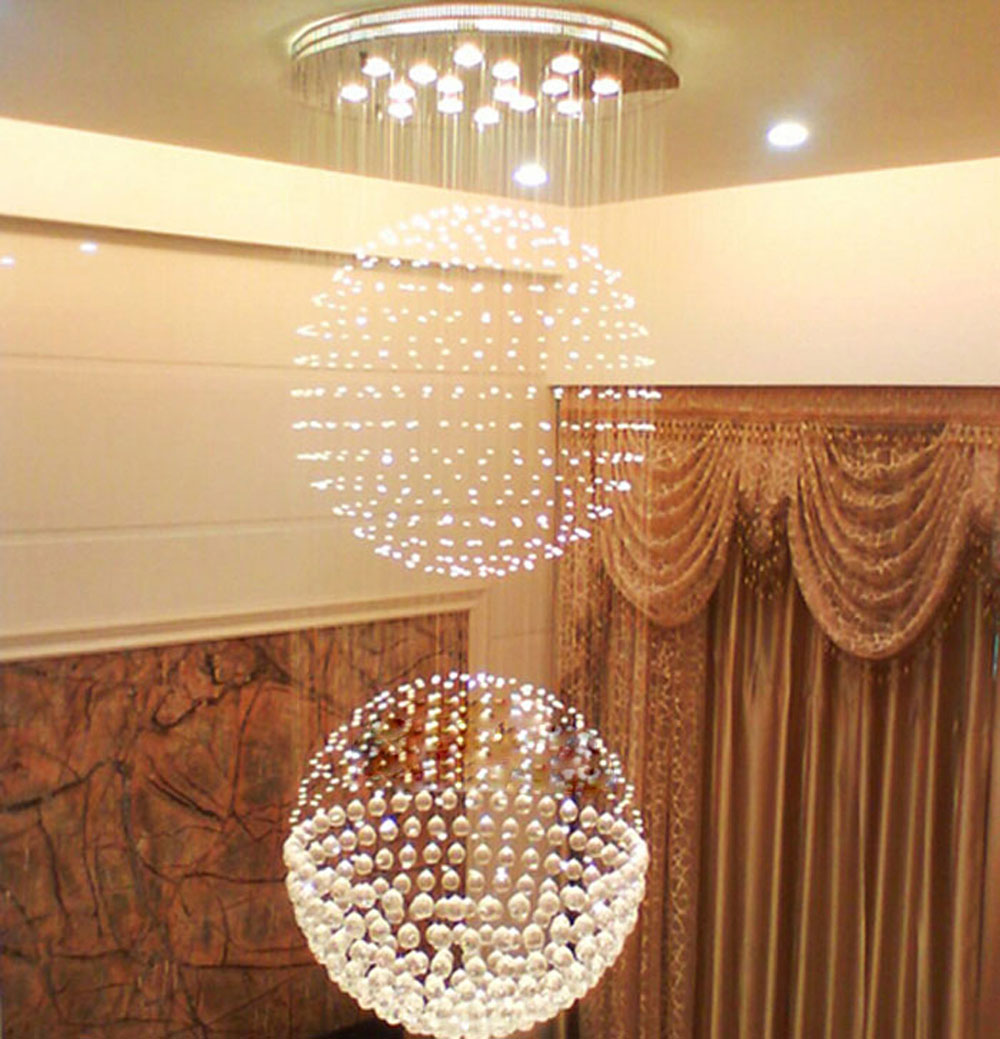 LED modern round double staircase light crystal chandelier luxury villa living room lights restaurant lights long hanging lights