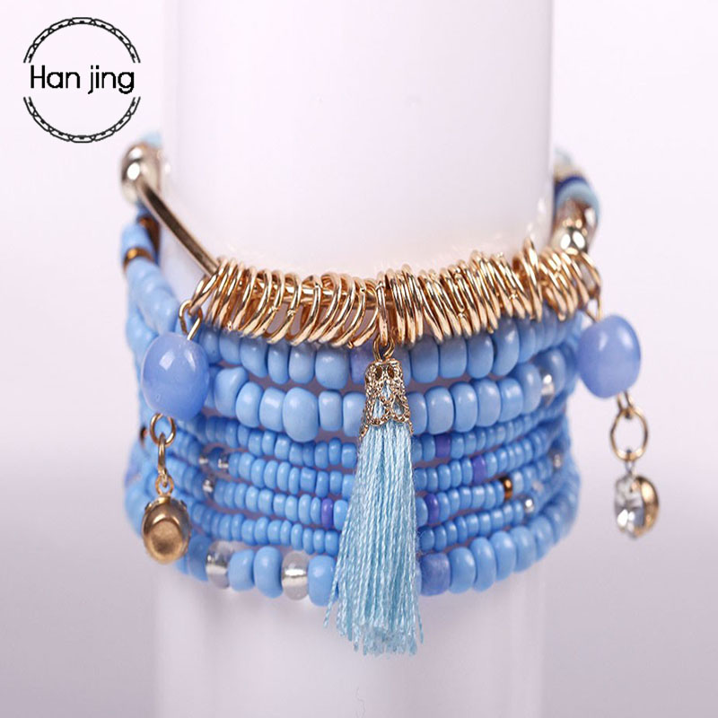 2018 Fashion Bohemian Multilayer Big Beads Charm Bracelets Set Boho Yoga Wrap Tassel Bangles Bracelets For Women Jewelry Gifts