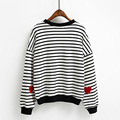 autumn women Leisure College Wind round neck long-sleeved sleeve heart-shaped embroidery pattern striped loose sweatshirt