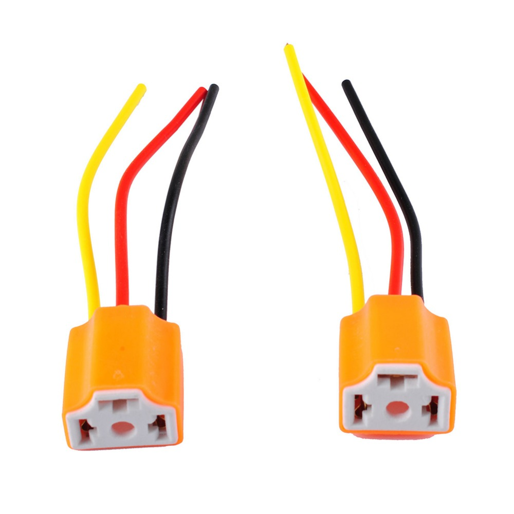 New2pcs 9003 H4 H7 Led Ceramic Wire Wiring Harness Connector Sockets Headlight Bulb Pigtail Plug Holders For Car In Connectors From Lights