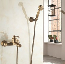 Antique Brass Wall Mounted Bathroom Single Handle Bathtub Faucet Tap Hand Held Shower set With Wall bracket &1.5m Hose atf303