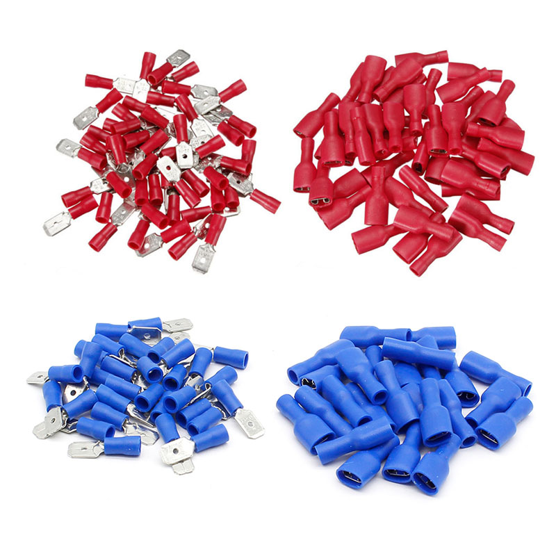 22-18 AWG 16-14AWG Female Male Electrical Wiring Connector Insulated Crimp Terminal Spade Blue Red