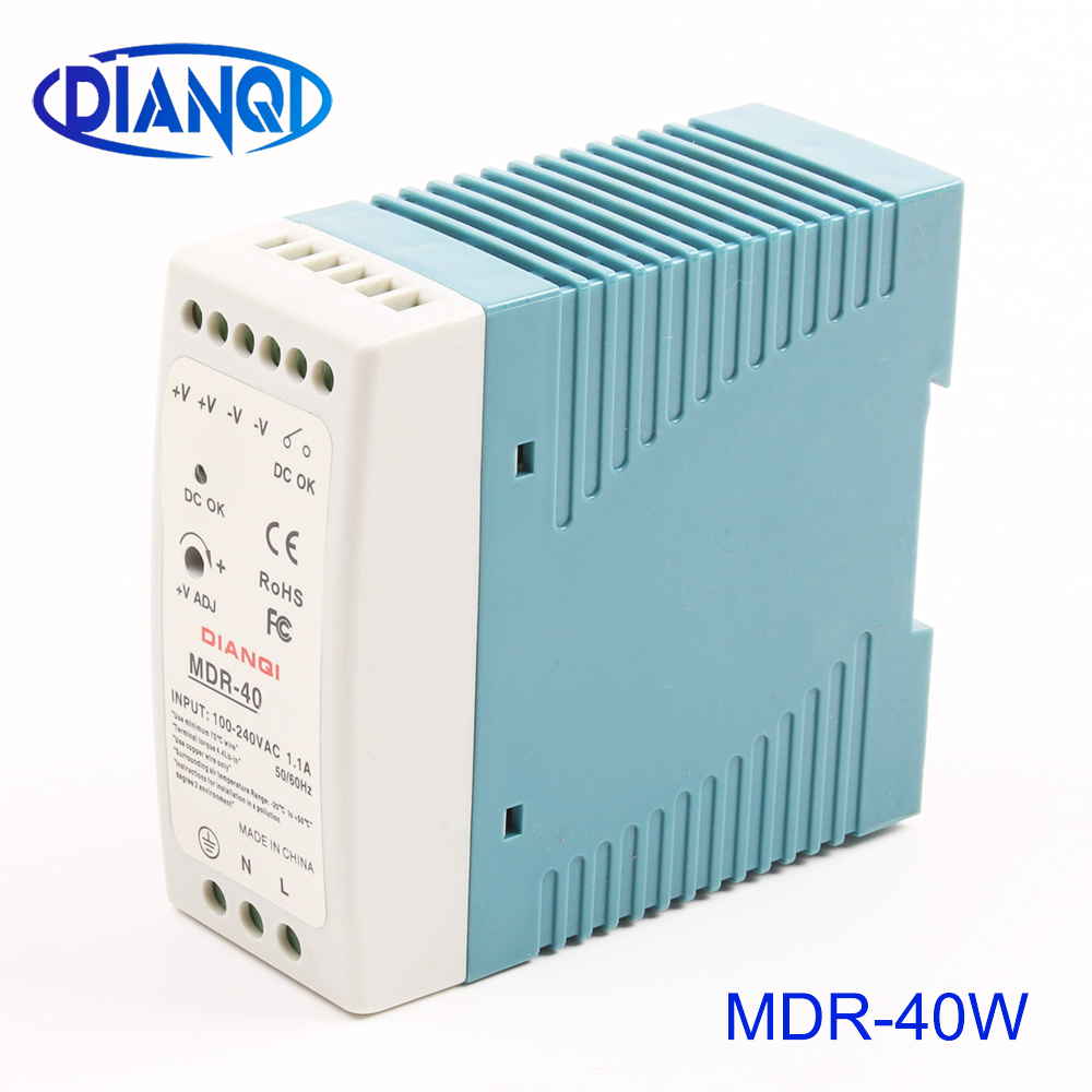 DIANQI MDR-40 12V 5V 15V 24V 36V 48V 40W Din Rail power supply ac-dc power supply unit 110V 220V for LED Strip LightDIANQI MDR-40 12V 5V 15V 24V 36V 48V 40W Din Rail power supply ac-dc power supply unit 110V 220V for LED Strip Light