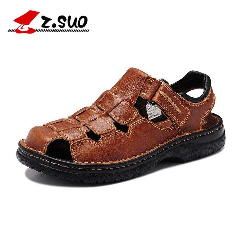 2017 Summer Cow Leather Brown Mens Sandals Outdoor Casual Shoes Man Beach Sandals Men Genuine Leather Slippers Big Size 46 47 48