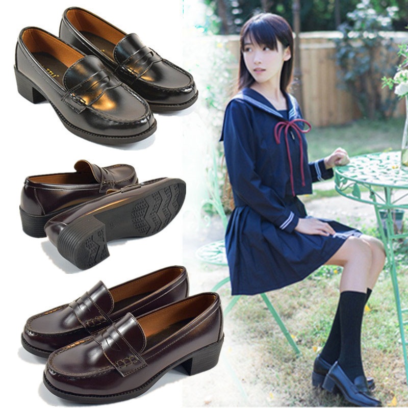 Japanese Student Shoes College Girl Shoes JK Commuter Uniform Shoes PU Leather Cospaly Shoes