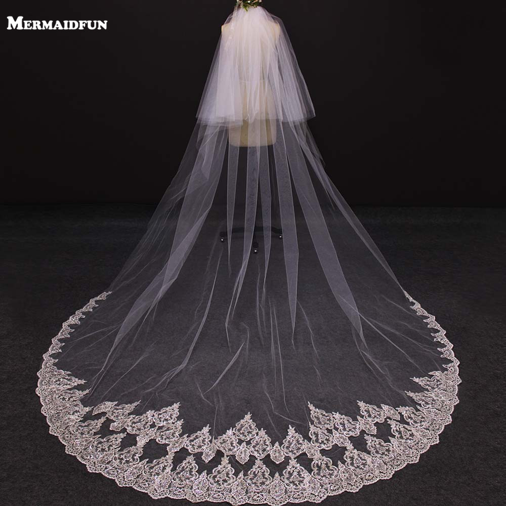 velos de novia 3 Meters 2T White&Ivory Sequins Blings Sparkling Lace Edge Purfle Long Cathedral Wedding Veils