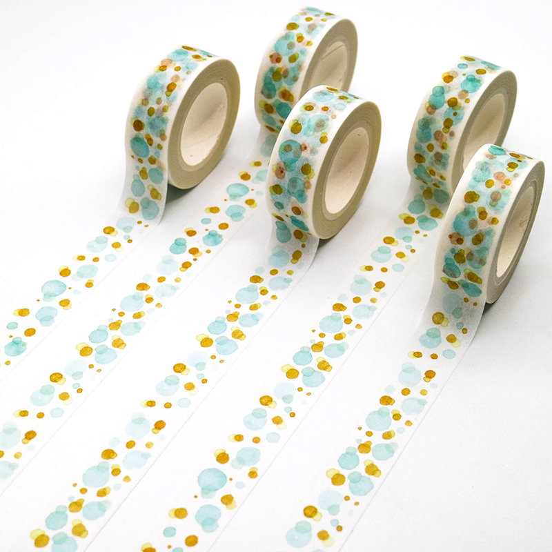 1 PCS Creative Watercolor Dots Washi Tape Adhesive Paper Tape School Office Supplies Decorative Masking Tape Sticker 15mm*10m
