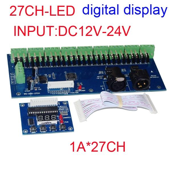 wholesale 1pcs DMX-27CH-LED digital display led decoder 1A*27CH DMX512 XRL 3P led controller dimmer for RGB led strip lights wholesale 1pcs dc5v 36v 36 channel 12groups rgb easy 36ch dmx512 xrl 3p led controller decoder dimmer drive for led strip light