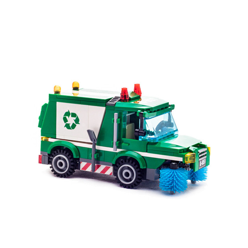196 Pcs Enlighten City Series Garbage Truck Building Blocks Educational Bricks Toys For Children Birthday Gift Compatible Lepin gonlei 02012 774pcs city series deepwater exploration vessel children educational building blocks bricks toys model gift 60095