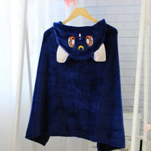 Anime Sailor Moon Cosplay Hooded Cloak Shawls Blankets Cute Neko Artemis Luna Cat Flannels Cloaks Blanket Soft Cap Hoodie