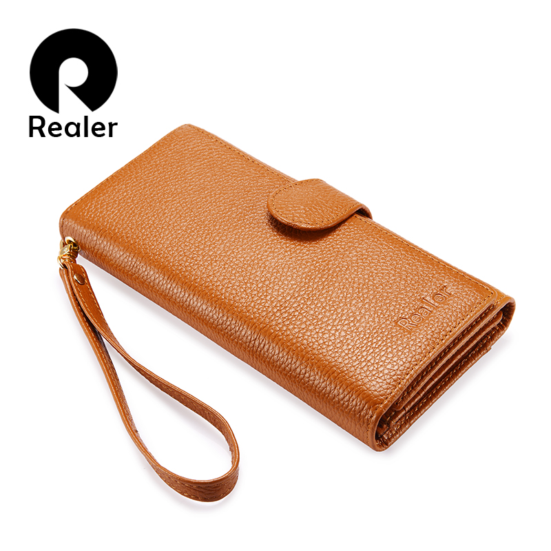 REALER Long Wallet Women Genuine Leather Female Wallet With Wristlet Strap Phone Pocket Zipper Coin Pocket Purse For Credit Card