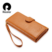 REALER long wallet women genuine leather female wallet with wristlet strap phone pocket zipper coin pocket purse for credit card(China)