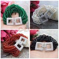 """8"""" 12 Strands 4mm Green Jade White Pearl Red Agate Onyx Bracelet Cz Clasp"""