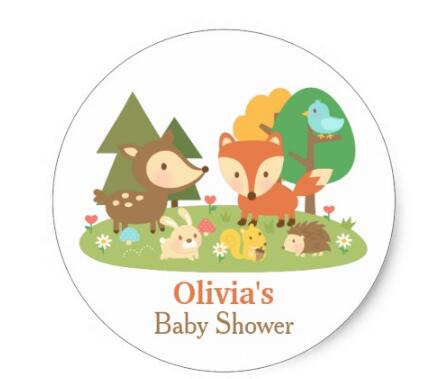 15inch Cute Woodland Animal Baby Shower Party Labels Classic Round
