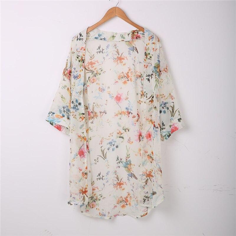Cover Top Blusa Cardigan Kimono Chiffon Suelto Abrigo Up Beach Canis Chal Floral Mujeres RgcwW8