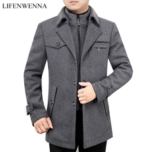 2019 New Arrival Autumn High Quality Wool Grey Casual Trench Coat Men Mens Winter Black Gray Business Wool Jackets M XXXL