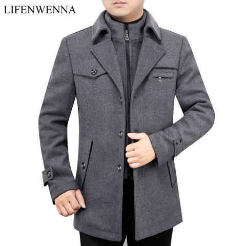 2019 New Arrival Autumn High Quality Wool Grey Casual Trench Coat Men Mens Winter Black Gray Business Wool Jackets M-XXXL Pakistan