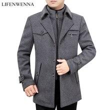 2019 New Arrival jesień wysokiej jakości wełna szary Casual Trench płaszcz mężczyźni męska zima czarny szary biznes wełniany kurtki m XXXL