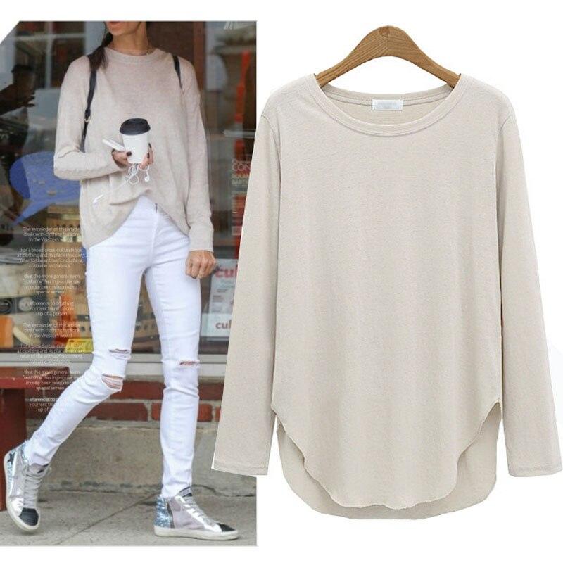 百思买 ) }}L- 4XL plus size cotton t-shirt elastic tops women spring long sleeve shirt