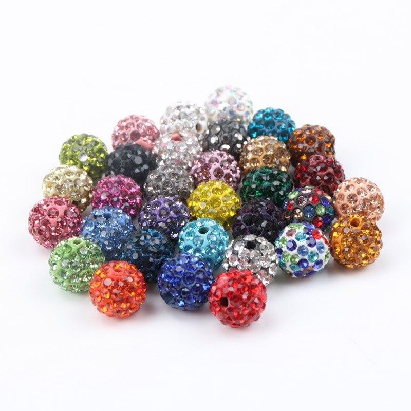 10 x 8mm Shamballa Style Sparkly Rhinestone Round Crystal Clay Beads