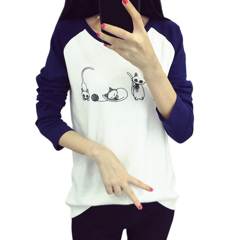 Femei Hoodies Cartoon Cat Hoodie Bluză Loose Printed Mixed Color Harajuku Hoodie Feminin Sudaderas