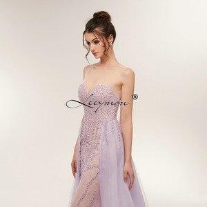 Image 4 - משלוח חינם כבד חרוזים סקסי חצוצרת שמלת ערב 2020 לפתוח בחזרה שרוולים קריסטלים נוצצים נשף שמלת תפור לפי מידה
