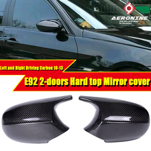100% Real Vacuumed Dry Carbon Fiber Mirror Cover Caps Add on Style M3 Look Replacement 2-Pcs For BMW E92 2-Door Hard top 2010-13