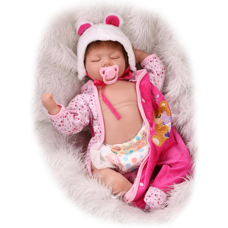 NPKCOLLECTION55cm soft silicone newborn baby doll with eyes closed Simulation to accompany sleep toys silicone reborn baby doll 55cm high quality reborn dolls baby simulation baby doll eyes will move to accompany sleep doll baby toys