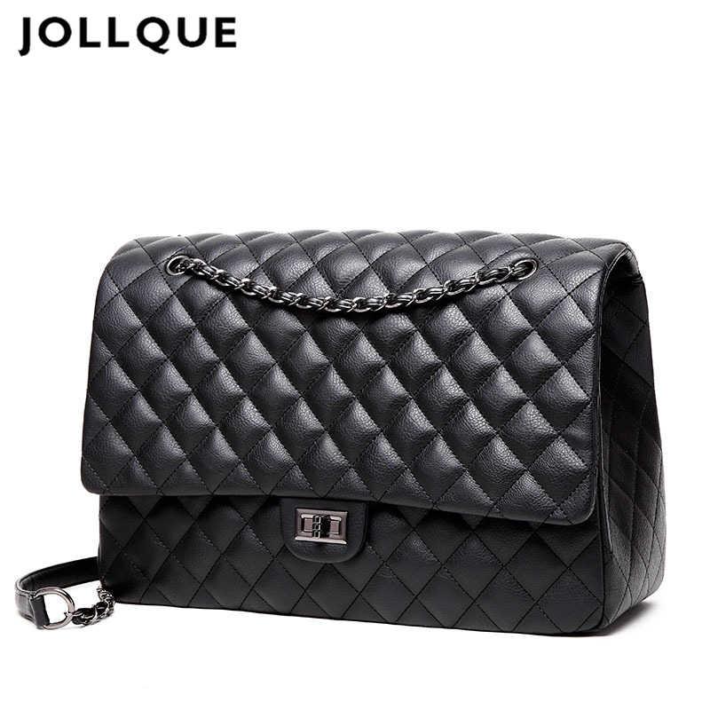 Jollque Berlapis Wanita Tas Genggam Tas Tangan Kulit Tas Travel Wanita Besar Bahu Tas Mewah Tas Besar Desainer Kantung Utama hitam