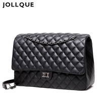 Jollque Quilted Women's Clutch Handbags Leather Travel Bag Female Large Shoulder Bag Luxury Big Bags Designer Sac A Main Black