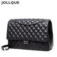 Jollque Quilted Women's Clutch Handbags Leather Travel Bag Female Large Shoulder Bag Luxury Big Bags Designer Sac A Main Black